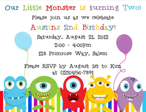 Is your little monster having a Birthday? What better way to invite ...